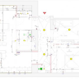 Zakreslení elektroinstalace do půdorysu (celý byt)