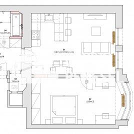 Návrh dispozice bytu do 50m2