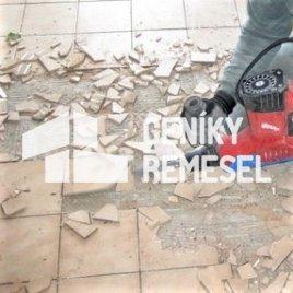 Odsekání keramické dlažby bez začištění podkladu