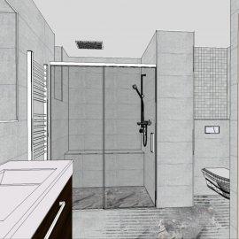 vizualizace koupelny - pohled na sprchový kout