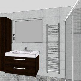 vizualizace koupelny - pohled na umyvadlo
