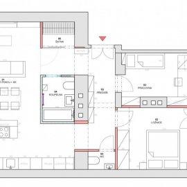 Holečkova - architektonické práce - dispoziční řešení