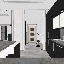 3D vizualizace - kuchyň + obývák + pracovna