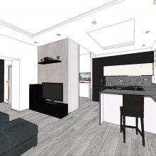 3D vizualizace - kuchyně a obývák