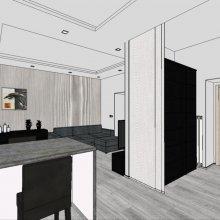 3D vizualizace - kuchyň + pracovna