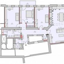 Architektonické práce Rybálkova - návrh dispozice