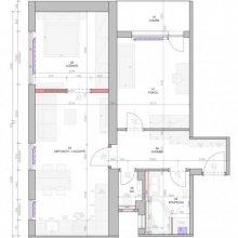 Praha 4 - dispoziční návrh bytu