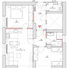 Praha 14 - dispoziční řešení bytu 3+kk