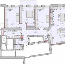 Praha 10 - dispoziční návrh bytu